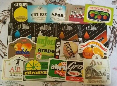 Denmark, Danmark, nice lot of all different Danish  Beer labels, mainly soda