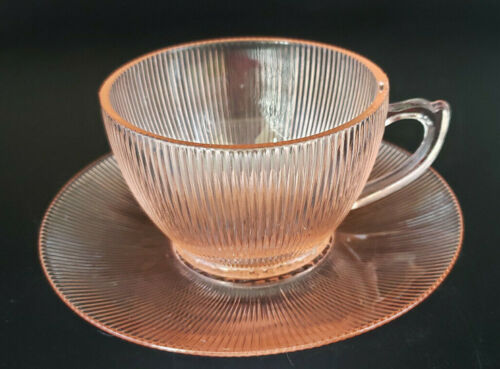 Vintage Jeannette Glass HOMESPUN Pink Cups & Saucers ~ Sold Individually