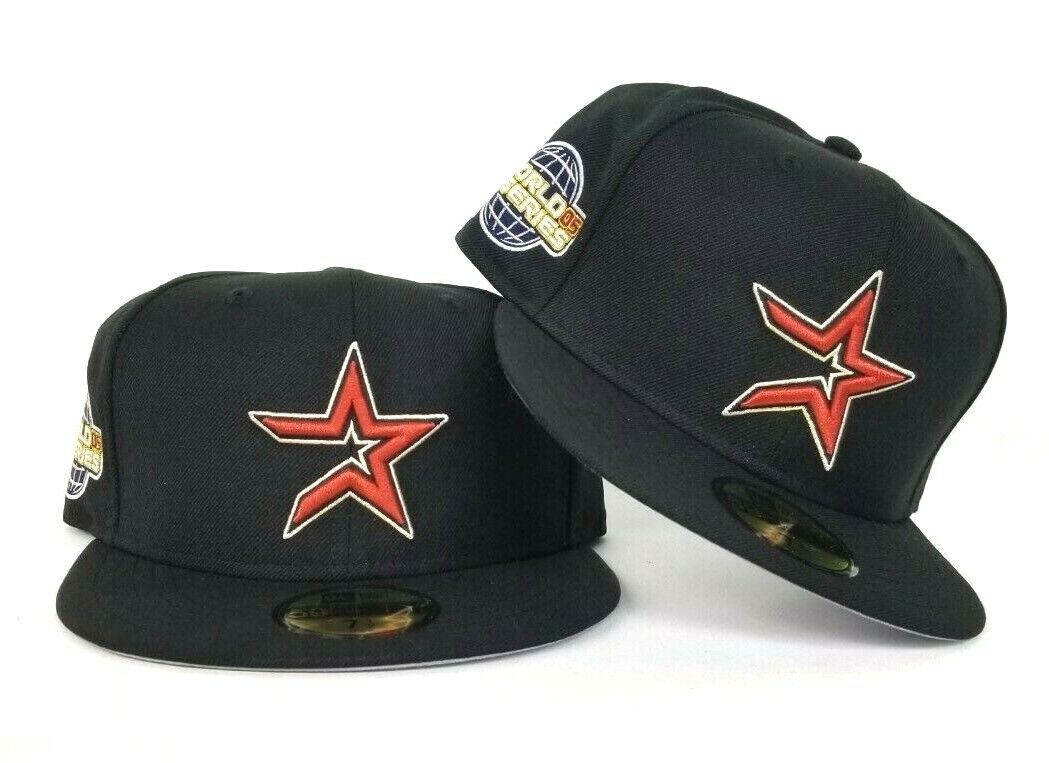 new products 9edeb 46fb7 Details about New Era Black Houston Astros 2005 World Series 5950 Gray  Bottom Fitted hat