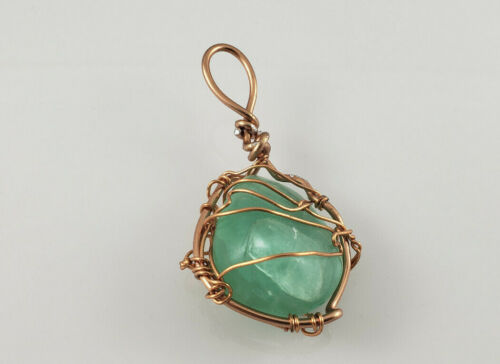 Green Fluorite Healing Stone Crystal Pendant with Copper Wire