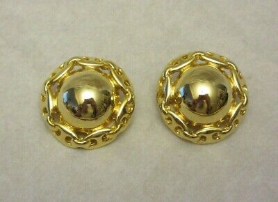 Vintage Signed Paolo Gucci Gold Tone Clip On Earrings Round