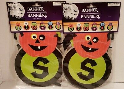 Vintage Halloween Banner Pennant Garland Kids Halloween Decor 12 ft New Set of 2