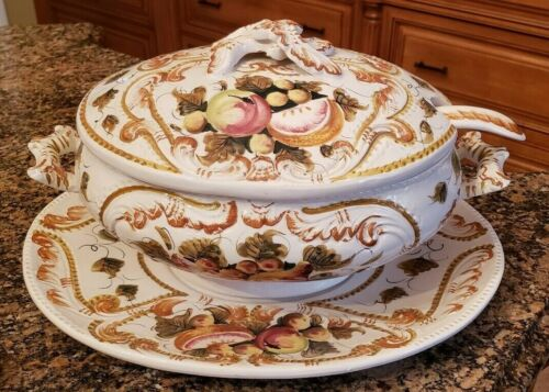 Soup Tureen with Lid Ladle and Underplate Made in Italy Handpainted and Numbered