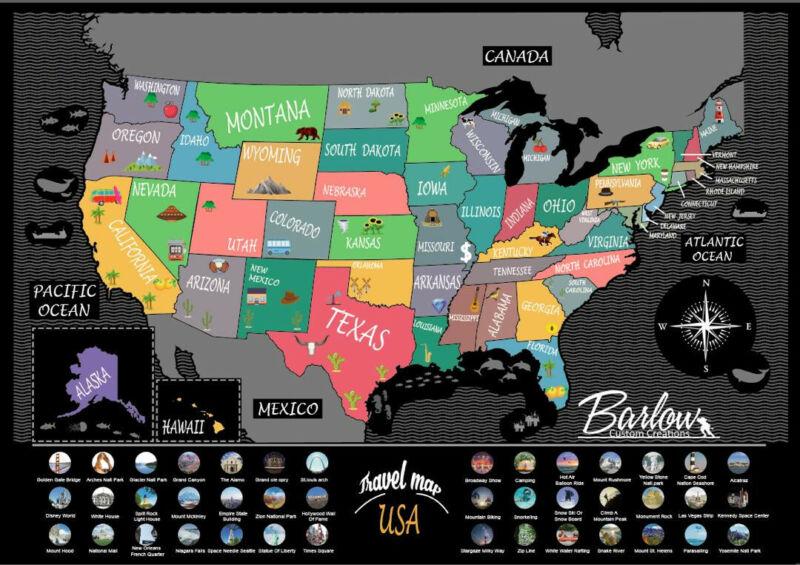 USA Scratch Off Travel Map, 24x17 Inch, Barlow Custom Creations