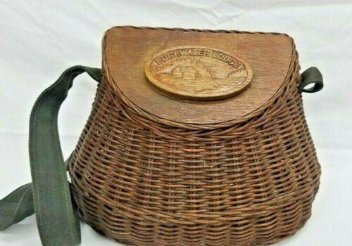 Vintage Edgewater Lodge Wicker Fly Fishing Creel Basket Canvas Strap Hinged Lid