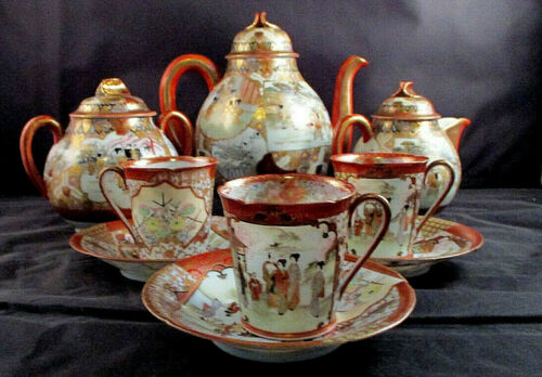 ANTIQUE JAPANESE KUTANI  CHOCOLATE PORCELAIN TEA SET