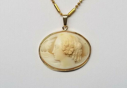Antique/Vintage 14K Yellow Gold High Relief Carved Shell Cameo Pendant Rare
