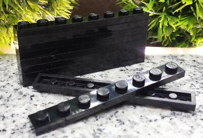 10x Lego® Basic Platte Plate schwarz 1x8 Noppen black K3