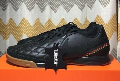 Nike Tiempo Ligera IV 10R IC Ronaldhino Soccer Shoes Black Gold UNISEX AQ2202