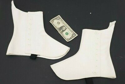 Spats, Gaiters, Puttees – Vintage Shoes Covers L&M Highland Outfitters PAIR White Spats Scottish Bagpiper Foot Ankle Highlander $23.79 AT vintagedancer.com