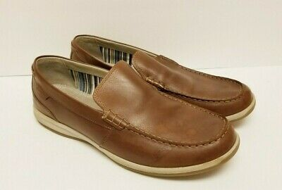 Men's CLARKS Shoes LEATHER Loafers Size 11.5 M Soft Cushion Ortholite Insole