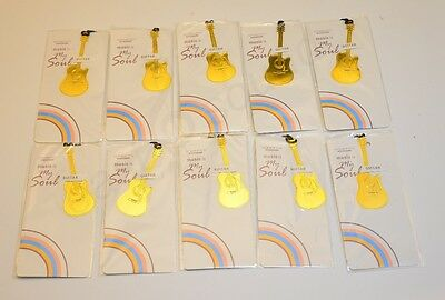 10pc Pack, Guitar Instrument Gold-plated Metal Art Bookmark