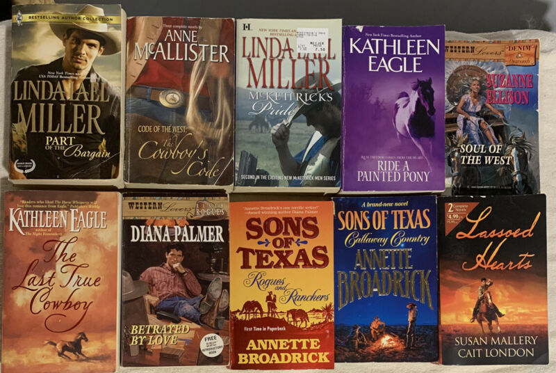 10 Western Romance Paperback Book Lot. Linda Lael Miller, Diana Palmer And More.