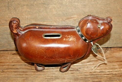 Original Kounoike Vintage Leather Dog Piggy Bank Japan