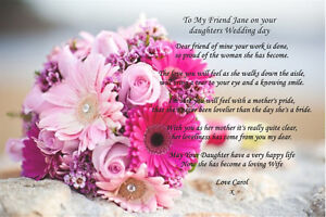 PERSONALISED TO MY FRIEND ON YOUR DAUGHTERS WEDDING DAY POEM UNIQUE COLOURFUL