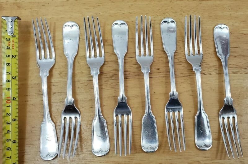 L@@K! 8 HIGHLY COLLECTABLE RARE ANTIQUE COIN SILVER TENNY 251 B WAY DINNER FORKS