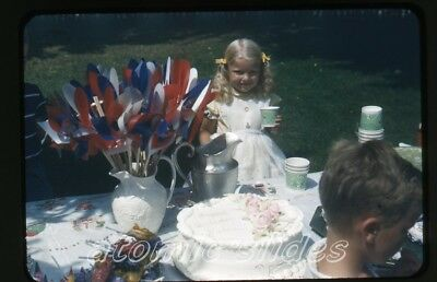 1950s kodachrome photo slide Girl at party tootsie roll pops birthday cake GOP33 (Tootsie Roll Colors)