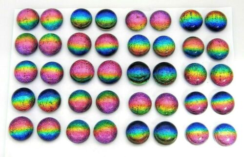 RAINBOW FOR POST EARRINGS TINY Lot 40 pcs round DICHROIC FUSED GLASS (i10) CABS