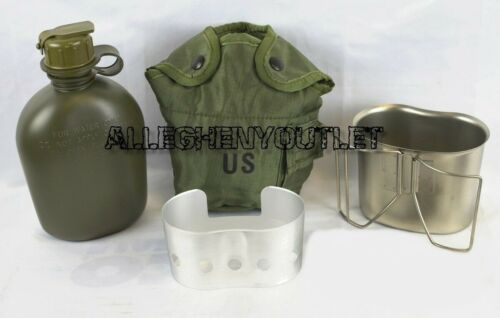 MINT Military 4 Pc 1 Quart CANTEEN SET w/ 1 QT OD Cover, Cup with Stove / Stand