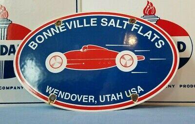 VINTAGE BONNEVILLE PORCELAIN SALT FLATS LAND SPEED AD METAL AUTOMOBILE SIGN