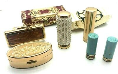 LOT - COLLECTION OF VINTAGE LIPSTICK HOLDERS CASES  GOLD TONE RHINESTONE ETC.