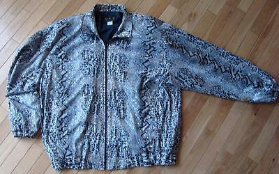 A.D.S. 1X LINED JACKET SNAKE/REPTILE DESIGN ZIP BRN/BLK/WHITE FALL $5.50 SHIP