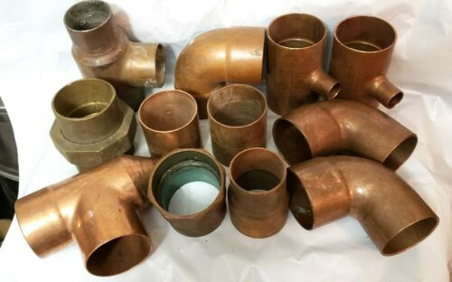 Lot Of 12 Copper Fittings  Mix