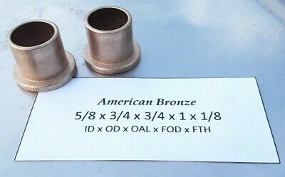2pc American Bronze 58x 34x 34x 1x 18 Made In Usa Flanged Bronze Bushing