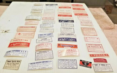 1920 Antique Vintage Old RX Pharmacy Apothecary Gum Labels 49 Unused bottle Id