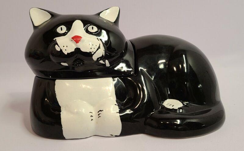 Vintage 1980s NAC Cookie Jar Cat Black White North American Ceramics 1985