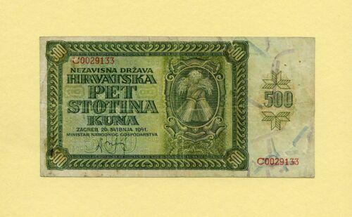 CROATIA KINGDOM, WWII 500 KUNA 1941 P-3a GOVERNMENT NOTES VF++ RARE