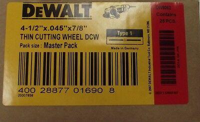 "DEWALT DW8062B5 4-1/2"" x 0.045"" x 7/8"" Metal and Stainless Cutting Wheel 25pcs."
