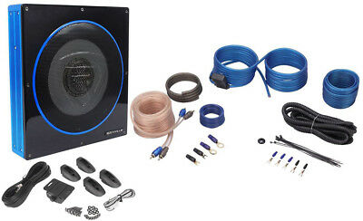"Rockville RW10CA 10"" 800 Watt Under-Have room Slim Amplified Car Subwoofer +Wire Kit"