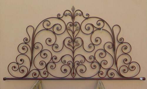 Headboard Bed header For Double Bed Wrought Iron A Tail peacock Vintage 27