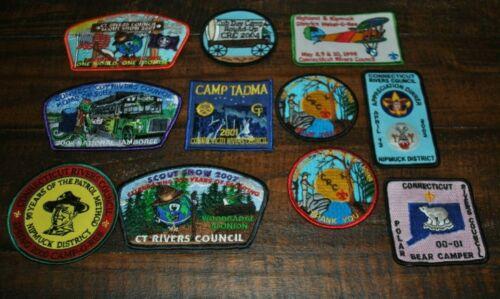 Lot of 11 Vintage Boy Scout Patches - CT Rivers Council Patches