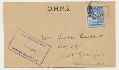 BASUTOLAND -BERMUDA 1949, OHMS COVER MASERU CDS+BOXED CACHET 1½d RATE(SEE BELOW