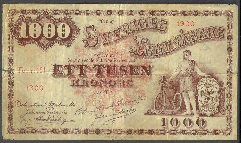 SWEDEN 1000 KRONER 1900  BICYCLE SHOP IN LINKOPING CURRENCY MONEY BILL EURO NOTE