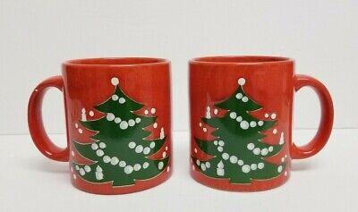 2 WAECHTERSBACH Pottery Red CHRISTMAS TREE Coffee Mug Cup W WEST GERMANY