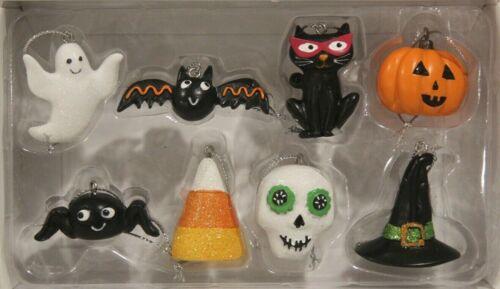 Midnight Market- Halloween Mini (8) pc Ornament Set -NIB/SPIDER, BAT, CAT, GHOST