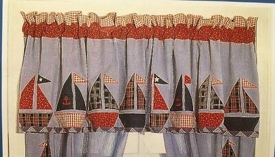 VALANCE * SAILBOATS  * Sailing Adventure * cotton, lined * NIP * only 1, used for sale  Smithfield