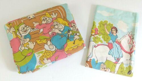 Vintage 70s Disney Snow White and Seven Dwarfs Twin Flat Sheet + Pillowcase VGC