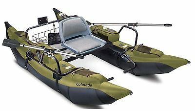 Pontoon Boat Inflatable Fishing Kayak Paddle Angler Double Motor Mount