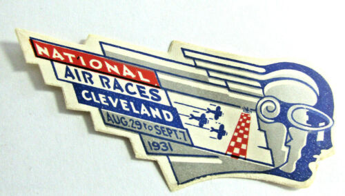 1931 NATIONAL AIR RACES CLEVELAND OHIO Art Deco Air Mail Etiquette Label Sticker