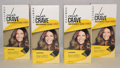 2 CLAIROL COLOR CRAVE SEMI PERMANANT HAIR COLOUR DYE DAFFODIL YELLOW TEMPORARY