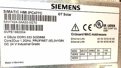Siemens Simatic Hmi Ipc 477c 19 Touchscreen Panel Pc W Part 6av7424-0aa00-gt0