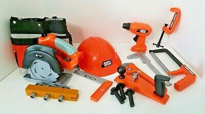 12 Pcs Black &  Decker Kids Play Tools Toy Drill, Saw Toolbelt Hard Hat & more  - Kids Play Hard Hat
