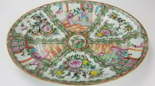 "Antique Chinese Export 19th C. Rose Medallion 16"" Oval Serving Platter"