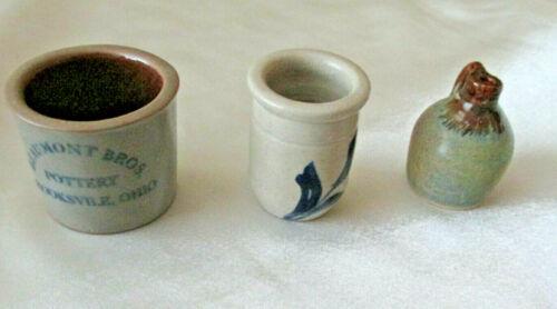 Lot Miniature Pottery Bates Jug Beaumont Bros miniature Colbalt blue decorated 3