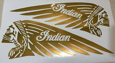 """NEW SKULL Indian 4.5"""" x 12"""" Motorcycle Tank Vinyl GOLD Decal Scout Chief L & R"""