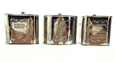 Set Of 3 Vintage Best Of ARABICA COFFEE-TEA-SUGAR Tins/Lid Silver